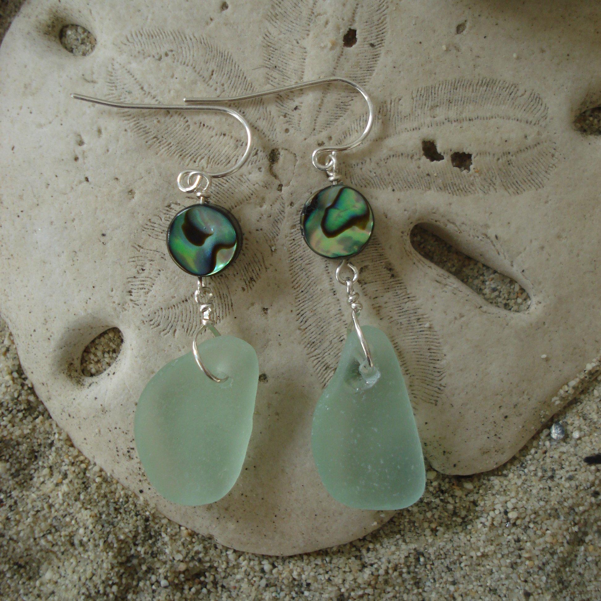 Abalone And Sea Foam Green Sea Glass Earrings Sisters